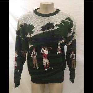 Vintage Crossings Men's Size L Golf Scene Sweater